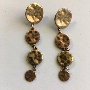 Bronze Like Circle Disk Dangling Earrings